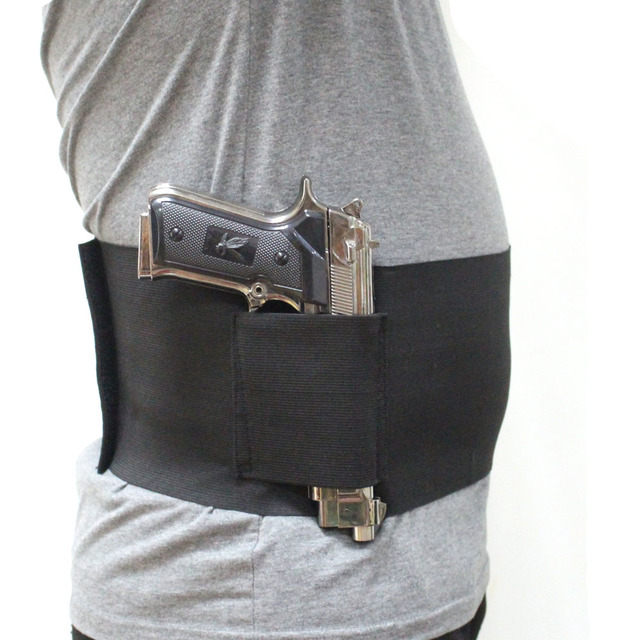 Elastic Belly Band Pistol Gun Holster Undercover Adjustable Waist Slimming Belt Abdominal Binder Pistol Holster with 2 Mag Pouch 1