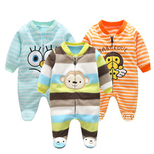 ФОТО 3m-12m infant footies newborn baby boys girls winter clothes colorful 100% cotton character clothing unisex autumn jumpsuits