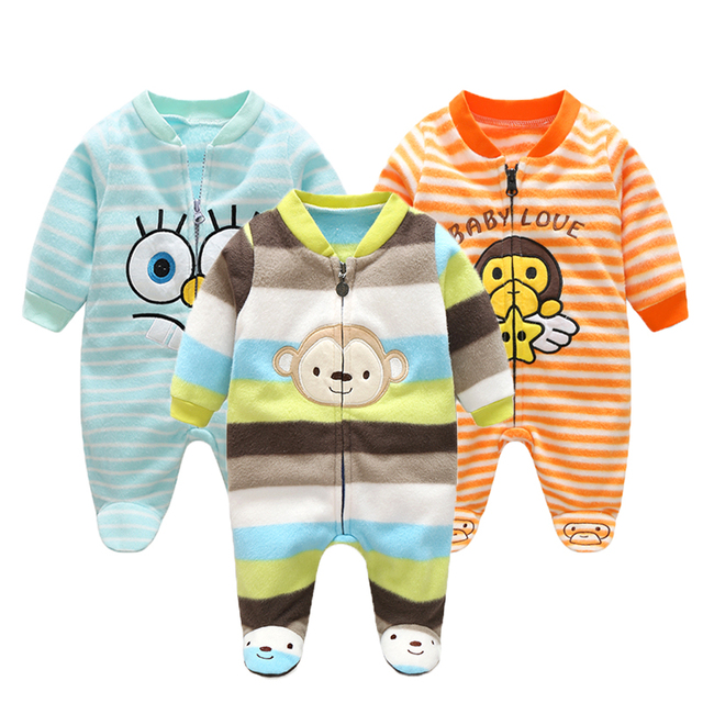 9c5f8133931a9 3M-12M Infant Footies Newborn Baby Boys Girls Winter Clothes Colorful 100%  Cotton Character