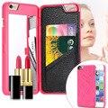 Lujo 3d caso de la cubierta del tirón de la carpeta para iphone 6 6 s 6 más delgado espejo de maquillaje cosmético cajas del teléfono para iphone 7 7 Plus