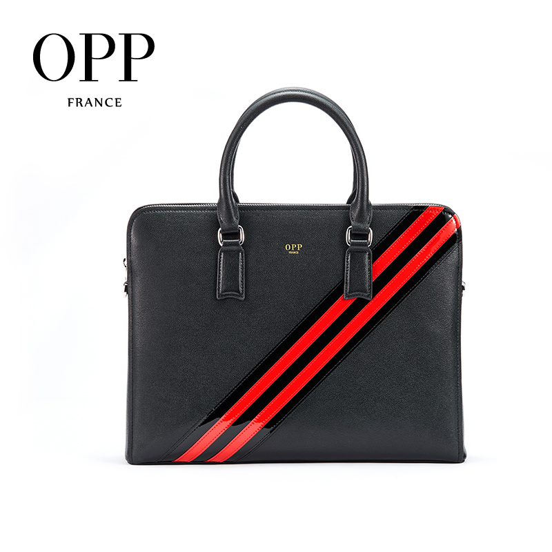 OPP Men's Bag Leather Business Briefcase Leather Wild Fashion Zipper Casual Handbag