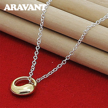 Hot Sale 925 Silver Lucky Gold&Rose Color Circle Pendant Necklaces For Women Fashion Jewelry