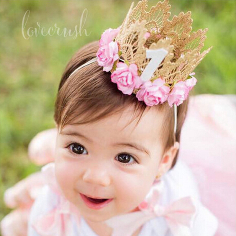 7 Colors Newborn Birthday Crown Headband Flower Lace Gold Tiara Headband for Kids Party Headwear Hiar Band Accessories Gifts