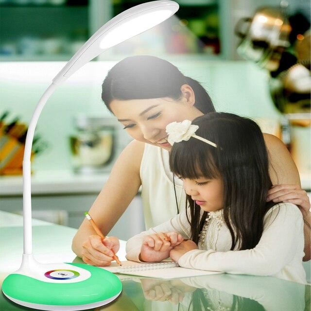 Сенсорный Выключатель RGB светодиодный Свет книга Настольная Лампа Чтение книги чтение свет Аккумуляторная Глаза Защиты светодиодные изменение цвета