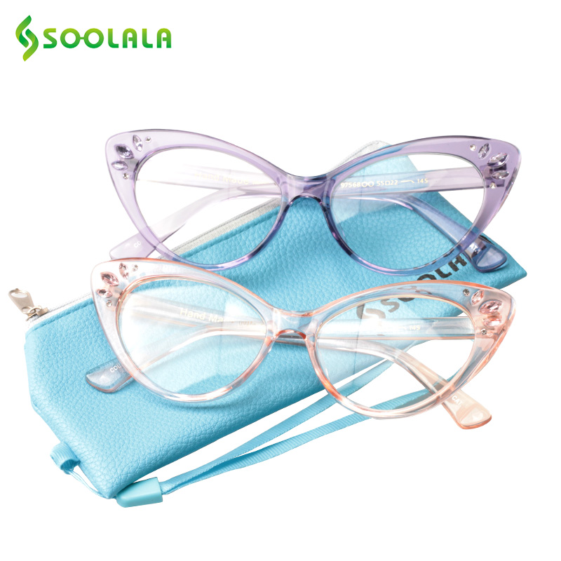 SOOLALA Cat Eye Reading Glasses Women Men 2018 New Clear Lens Eyeglasses Prescription Reading Glasses With Crystal +1.0 To 4.0