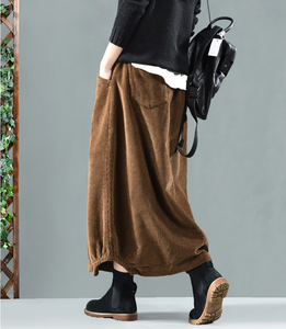 Image 2 - Spring Autumn Skirt Retro Women Elastic Waist Skirt Loose pocket Button Solid color Solid color Casual Ladies Bud Skirt 2019