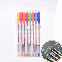 6/8pc Rainbow Pen Set Creative Glitter Flash Water Chalk Highlighter Gel Pens for Drawing Graffiti 0.8mm School Supplies