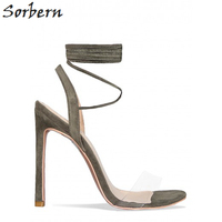 Sorbern Women Sandals Plus Size Shoes Sexy Women Shoes Plastic Clear PVC Strap Sandals High Heels Ankle Straps Custom 2017