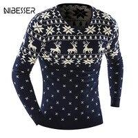 NIBESSER Marka Christmas Serii Swetry Sweter Mężczyzn Themal Grubsze Swetry Deer Wydrukowano Z Długim Rękawem Slim Dorywczo Dół Zima