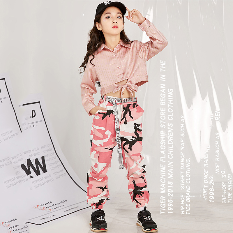 Jazz Dance Costumes Kids Pink Shirts Camouflage Pants Hip Hop Street Clothing Cheerleading Stage Outfit Performance Wear DN3306