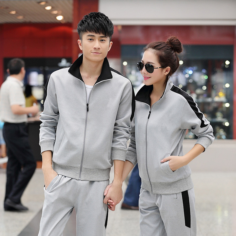 2017 new couples running set students loaded spring and autumn sportswear set men and women outdoor sports fitness jacket trouse