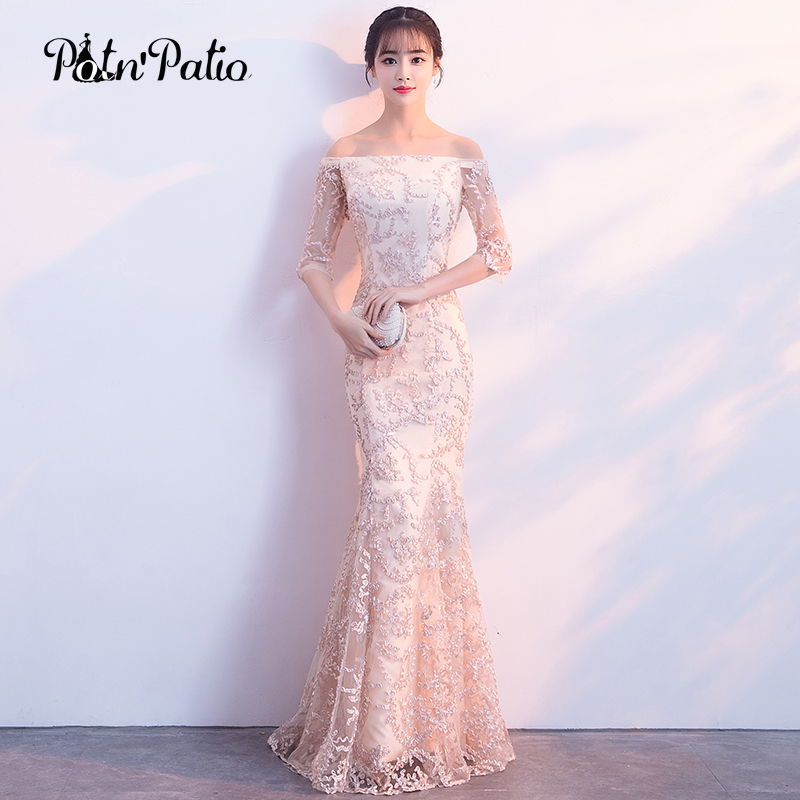 Elegant Boat Neck Mermaid Evening Gown Champagne Lace Long Formal Evening Gowns With Half Sleeves 2018 Plus Size Customized gown