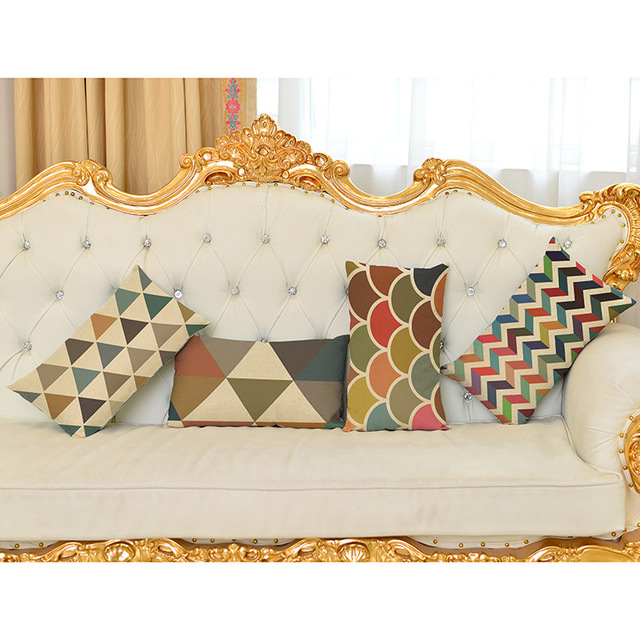 Colorful Triangle Geometric Waist Cushion Covers Polyester Fabric Vintage  Sofa Pillow Case Home Decor Throw Pillow