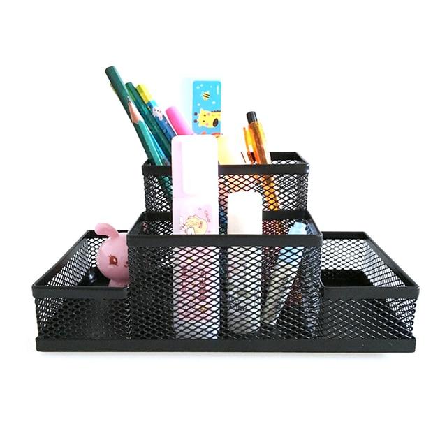mesh cube metal stand combination holder desk desktop accessories rh aliexpress com pen holder for desk walmart pen holder for desk with name