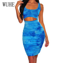 WUHE Vintage Sleeveless Behide Cross Bandgae Pleated Dress Women Sexy Hollow Out Bodycon Pencil Dress Summer Print Elegant Dress electric vegetable cutting machine 200 kg h automatic vegetable shreadding slicing machine commercial vegetables cutter