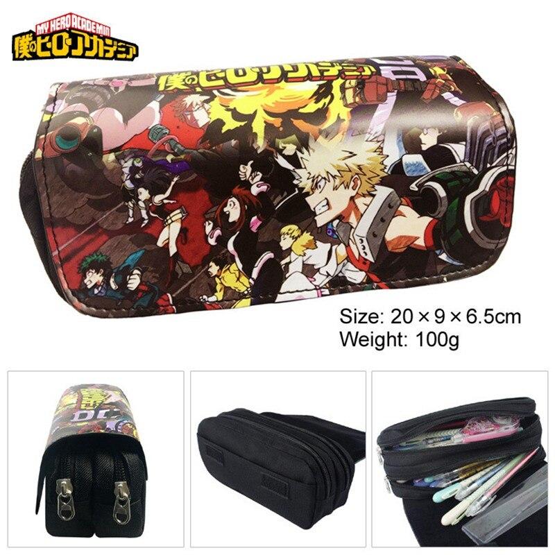 Anime Boku no héroe Academia lápiz caso maquillaje cosmético bolsa de dibujos animados batalla estudiante Multi-función flip papelería bolsa