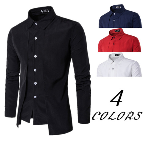 ZOGAA New Shirt Men Casual Slim Fit Shirts Long SleeveTurn-down Colllar Mens Dress Shirts Solid Black Red Shirts for Man clothes Pakistan