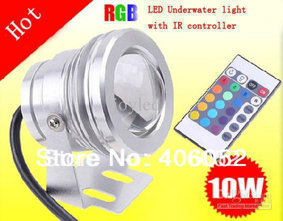 10w 12v Underwater Rgb Led Light 1000lm Waterproof Ip67 Fountain Pool Lamp 16 Color Change With 24key Ir Remote Controller