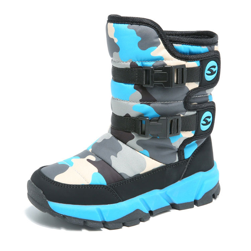 цена Boys Girls Winter Camouflage Boots Fashion Anti-skid Platform Snowshoes Water-resistant Mid-Calf Outdoor Footwear Size 26-39