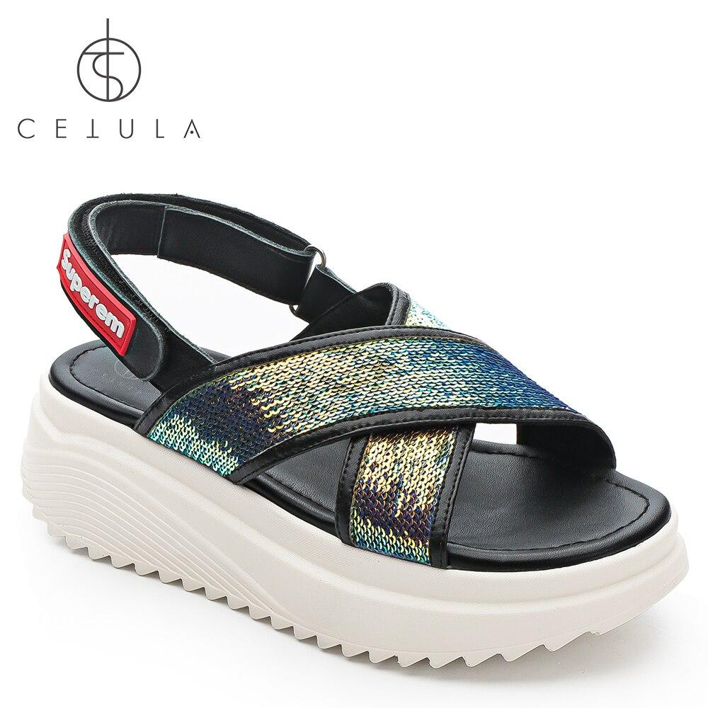 587e1b7ac2c95b  Cetula 2018 Handcrafted Summer Casual Circular Sequins Cross Strap Female  Slingback Flat Sandals ft.