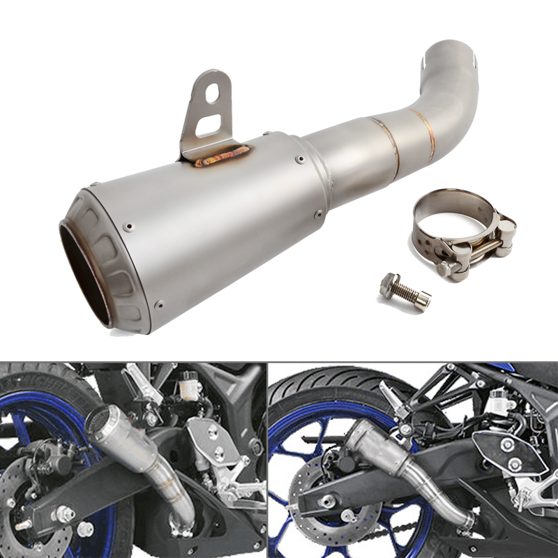 NICECNC Motorcycle Parts Stainless Steel Slip On Exhaust For Yamaha YZF R3 YZF R25 MT 03