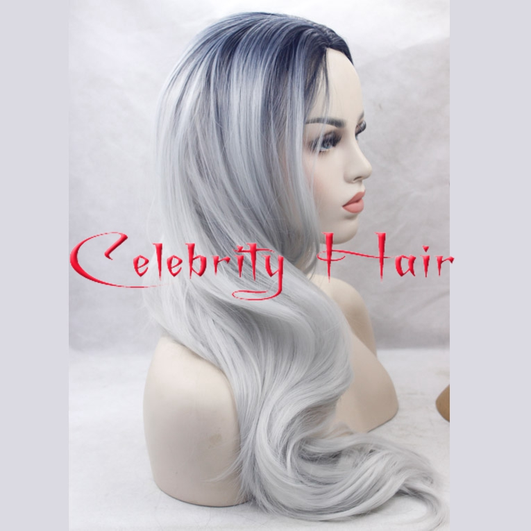 2016 ombre synthetic hair two tone black Silver Grey wigs long body wave heat resistant big lace