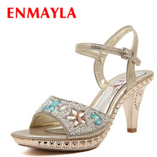ENMAYER size 35-39 High quality high heels women sandals sexy Colored stones platform summer party wedding shoes woman Summer