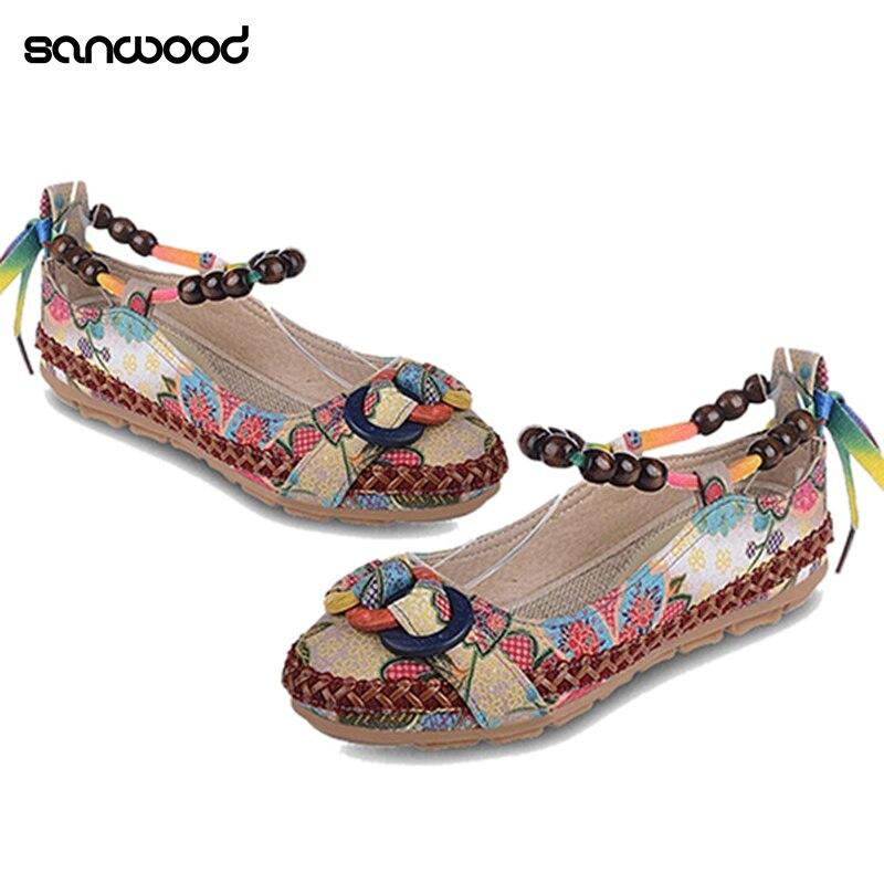 Nuevas llegadas étnicas Encaje hasta rebordear dedo del pie redondo planos cómodos colorido Mocasines Zapatos