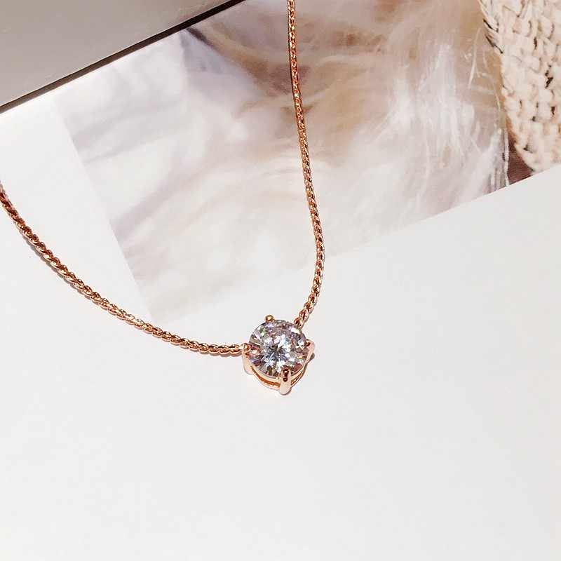 Collier pendentif en pierre CZ simple délicat couleur or Rose collier Zircon cubique femmes chaîne clavicule tour de cou