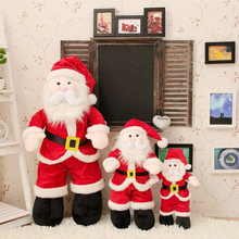 2Pcs/1Set Will Sing And Have Light Santa Claus&Christmas Trees Plush Toys For Kids Dolls Decorations For Home Merry Xmas New Yea