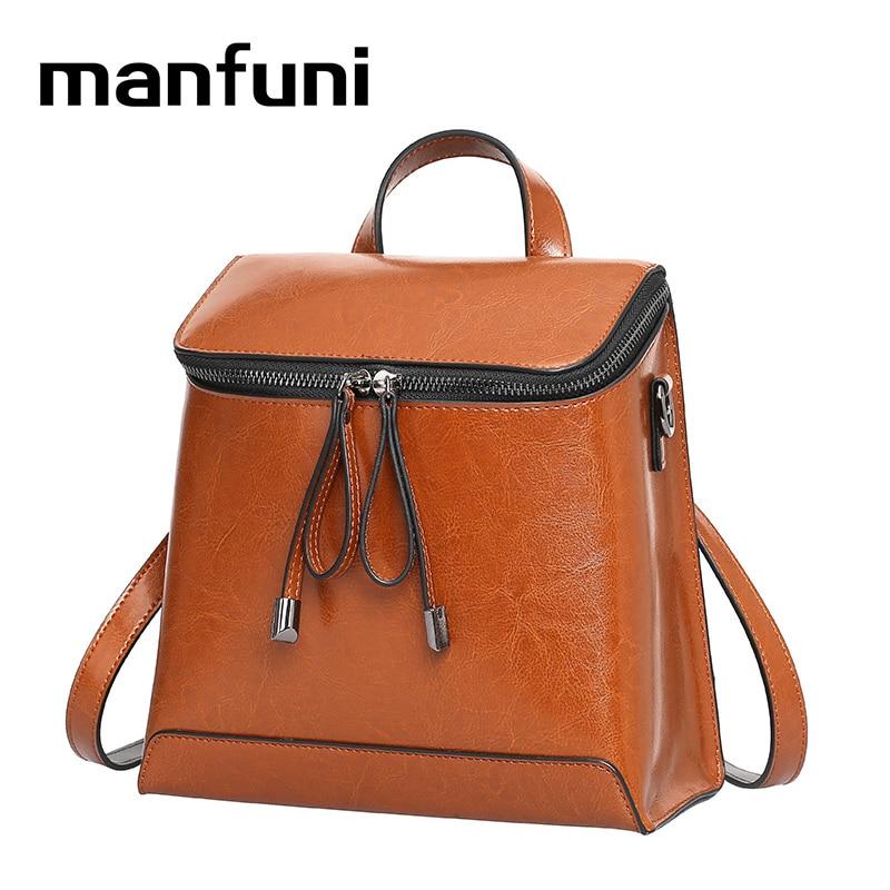 MANFUNI Genuine Leather Retro Vintage Bag teenage girls cover Casual backpacks travel Multipurpose backpack Pure color bags