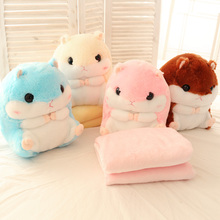 Cartoon Hamster plush pillow shiba inu & lion toys for children gift Contain Plush Flannel blanket Bedroom cushion