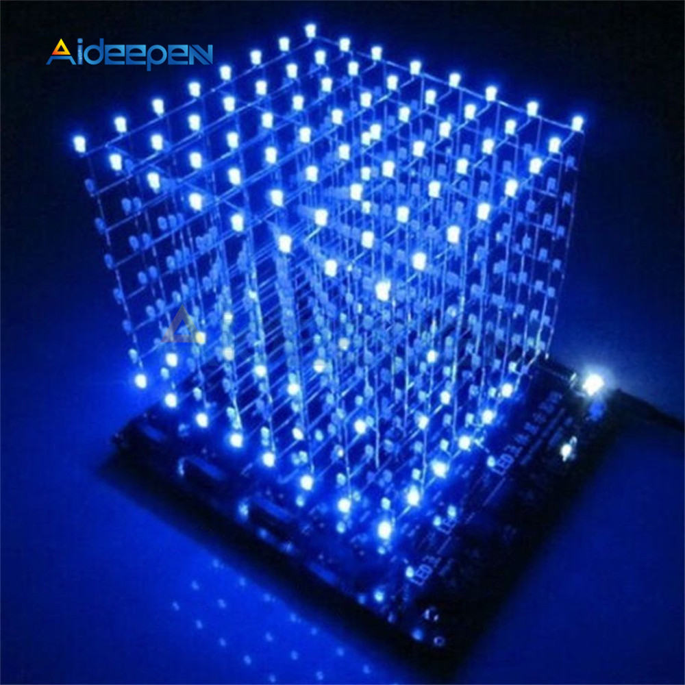 Advertising Lights Honesty Claite Blue Led Light Cube Kit 8x8x8 3d Led Diy Kit Electronic Suite For Advertising 512led Diy Electronic Display Kits Commercial Lighting