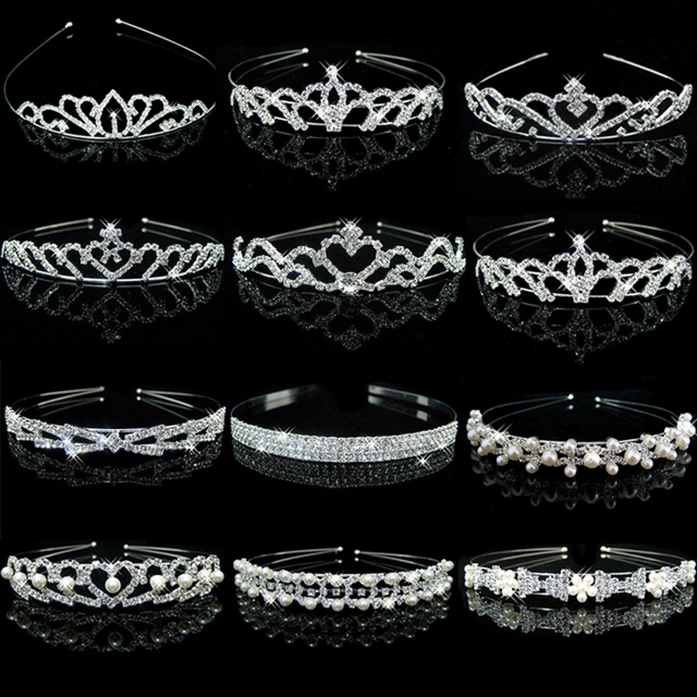 Fashion Women Girl Wedding Bridal Flower Girls Children Kids Pearl Wave Crystal Party Hair Band Headband Crown   Headwear