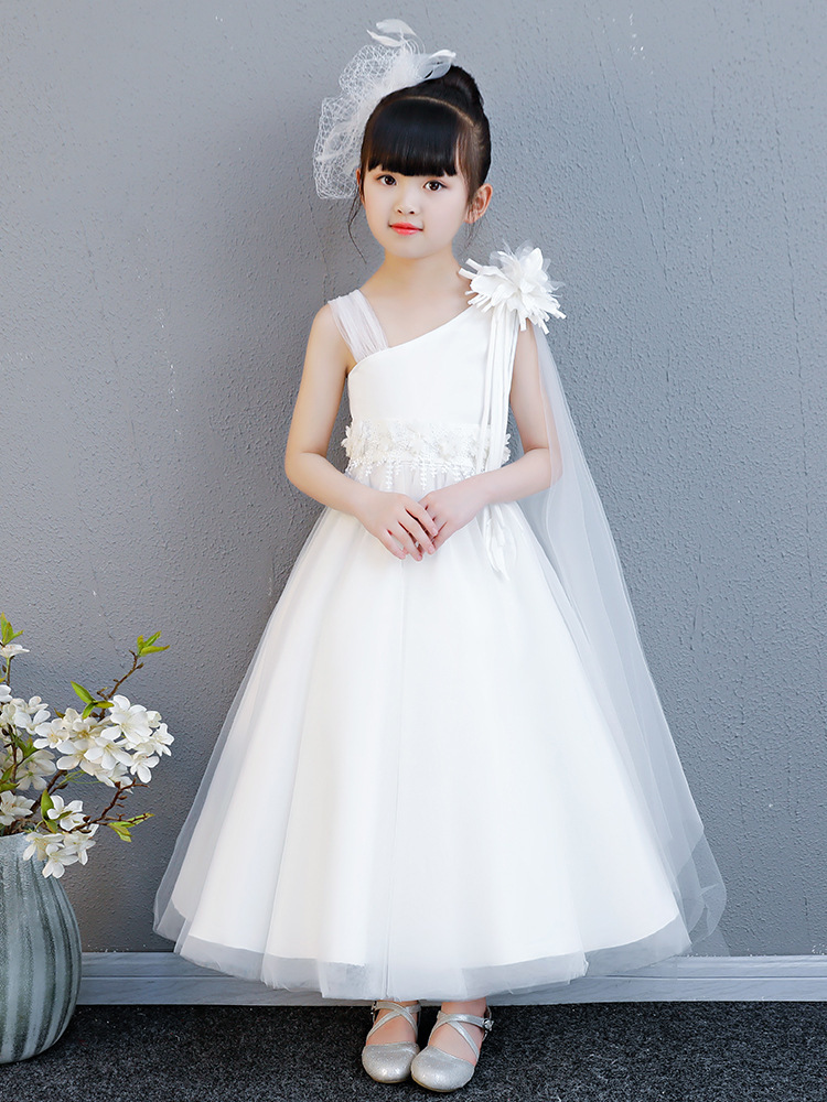 White   Flower     Girl     Dress   Princess Bow Pageant   Dresses   First Communion   Dress   Kids Wedding Party Gown Robe Enfant Fille Mariage