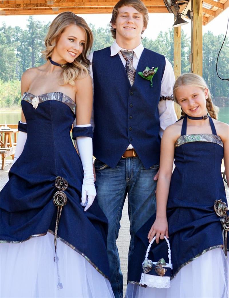 blog blue camo wedding dresses They can make the entire bridal party attire in camo and match all of the dresses colors to the men s vests The options are endless