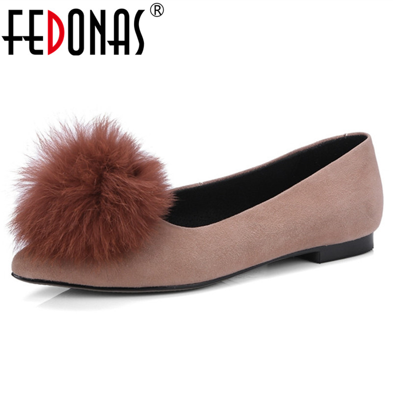 FEDONAS New Women   Suede     Leather   Flats Shoes Cute Slip On Spring Autumn Pointed Toe Party Wedding Shoes Woman Loafter Shoes