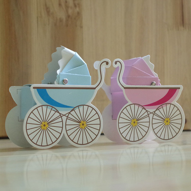 100pcs Baby Carriage Candy Box Gift Bags Birthday Boy Baby Shower