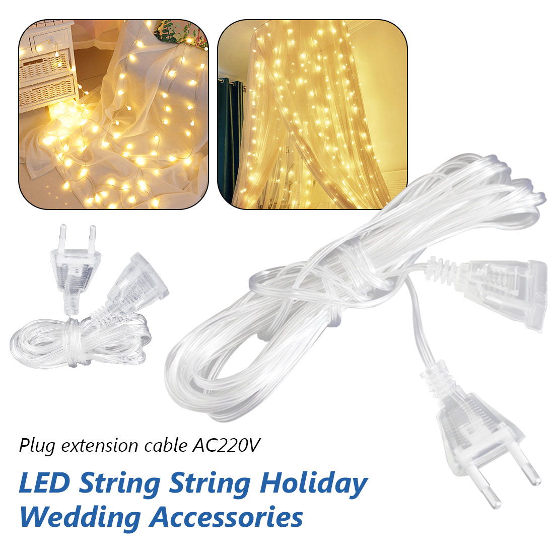 3M Led Strip  Power LED Extension Cable Extender Wire For LED String Light Christmas Lights EU Plug  AC 220V