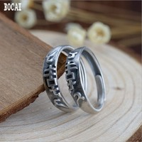 S925 silver vintage Thai silver craft ring simple female models hi word, couple ring