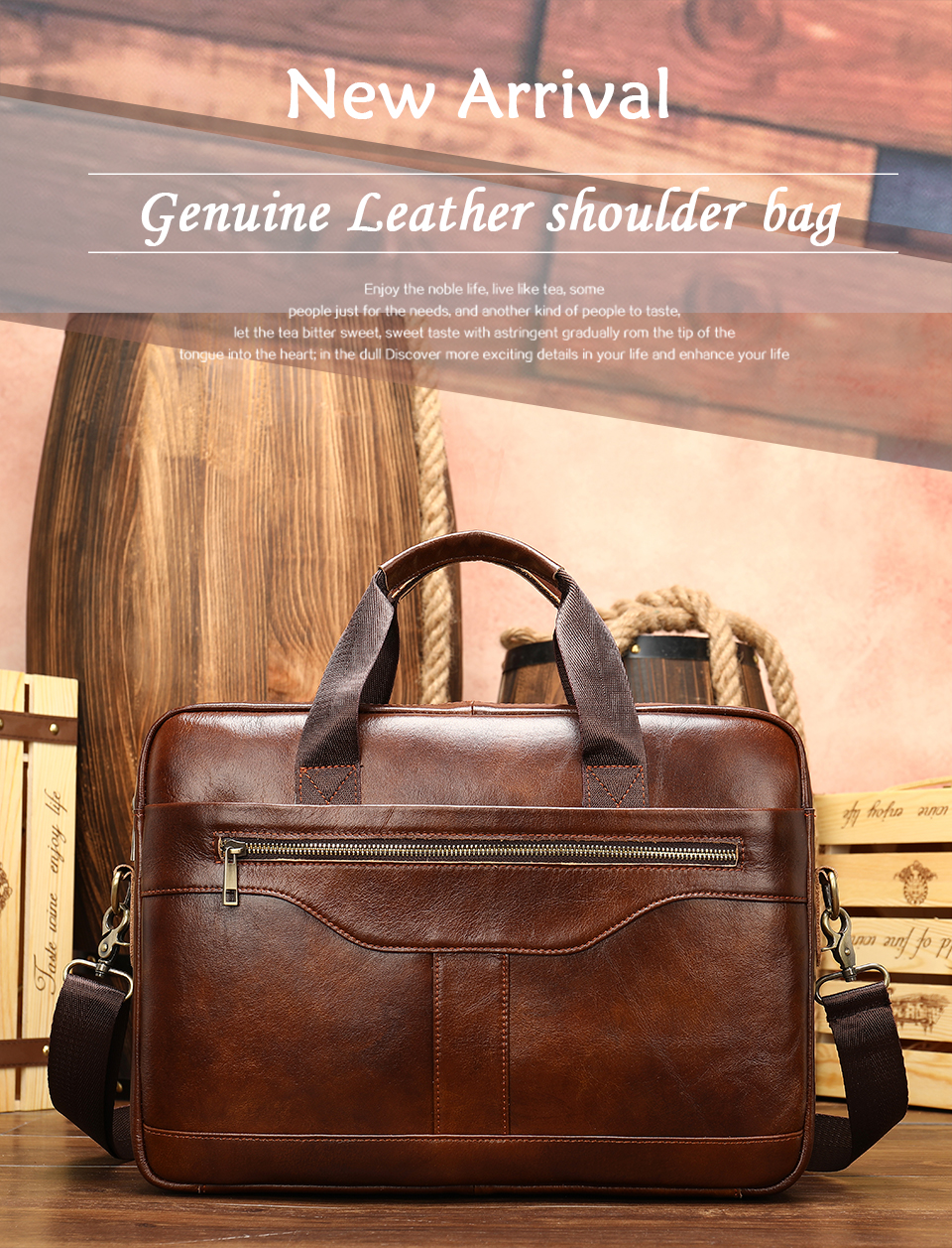1 Bag Men's Genuine Leather Briefcase Male Handbags Lawyer Man Laptop Bag Leather for Men Messenger Bags Men's Briefcases