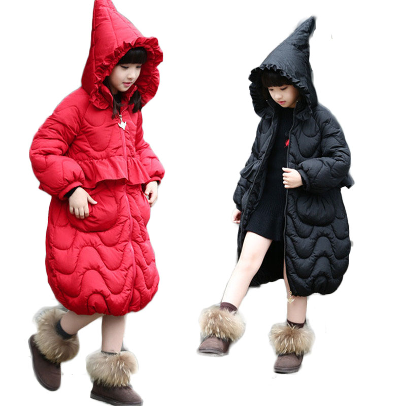 2018 Winter Baby Girls Coats Kids Thick Warm Cotton Overcoat Children Lantern Sleeve Hooded Parkas Tiny Teenage Long Jackets G84