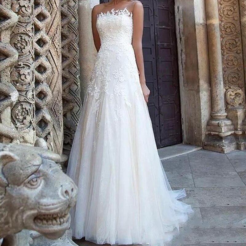 Miaoduo Бохо цвета слоновой кости свадебное платье А силуэта аппликации платье невесты из тюля белый кружевной топ свадебное платье ulle Юбка пл
