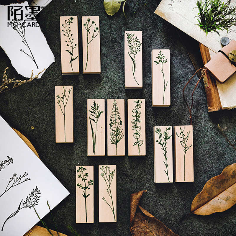 XINAHER Vintage plants grass stamp DIY wooden rubber stamps for scrapbooking stationery scrapbooking standard stamp