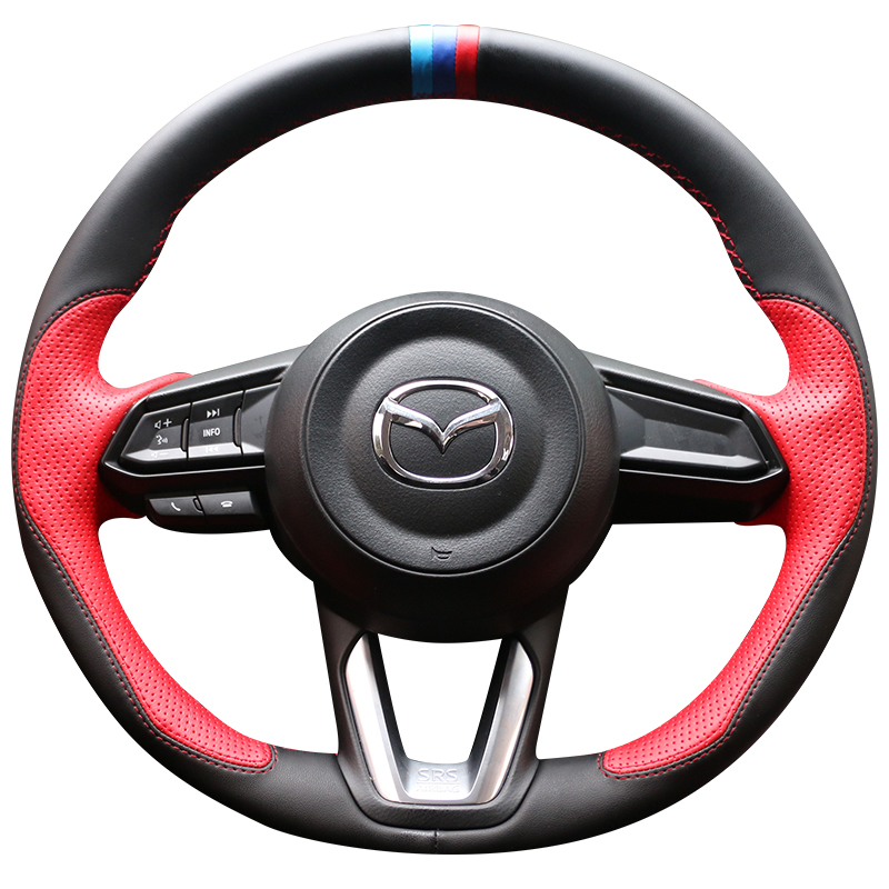 DIY Steering Wheel Covers Leather Braid On The Steering wheel Of Car With Needle And Thread