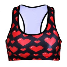 NEW 0100 Summer Sexy Girl Women red heat lips Padded Push Up Gym Vest Top Chest Running Sport Yoga Bras