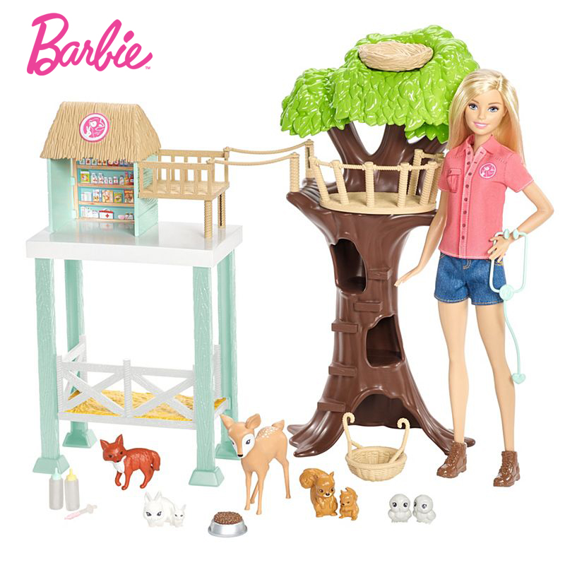 Original Barbie Doll Animal Rescuer Doll Playset Kit Cute Room Baby Girl Toys For Children Poppenhuis