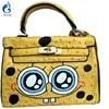 2016 New Cute Smile Cartoon Eyes Graffiti PU Leather Yellow Handbags Women S Luxury Bags Hand