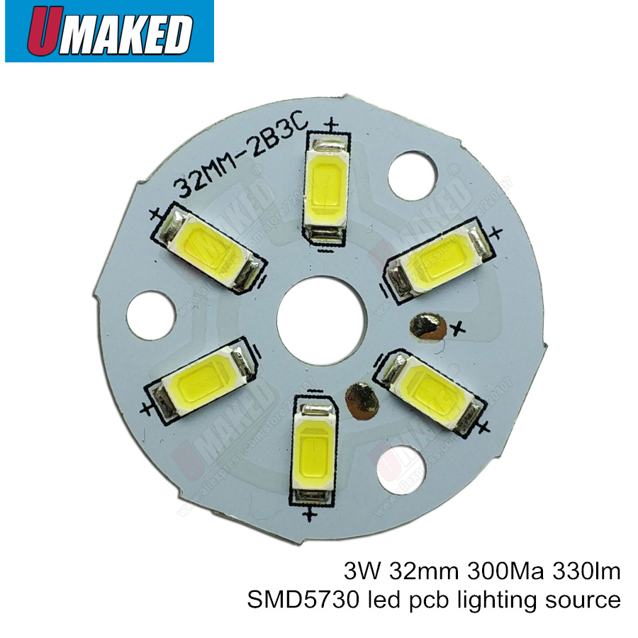 3W 32mm 330lm SMD5730 Brightness SMD Light Board, Full Power Led Lamp Panel For Ceiling PCB With LED Free Shipping