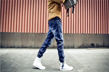 2015 New Fashion mens Korean Style folds Jeans Gradient Slim Fit Pants Skinny Stretch Beam Foot Trousers Plus Size